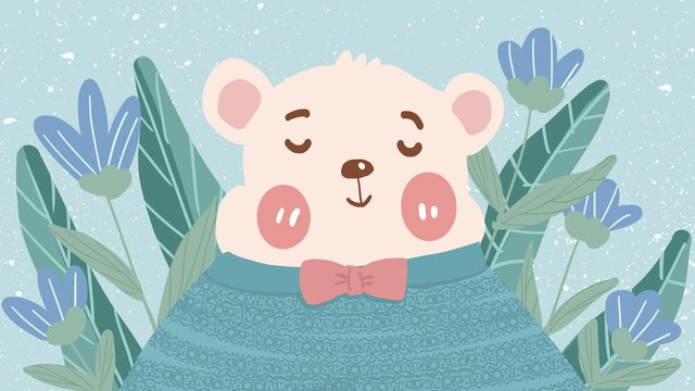 Cute pet series bear flowers cartoon animal image flat wind illustration, Meng Pet Series, Bear, Flowers illustration image