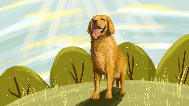 Милый питомец серии на солнце плакат иллюстрации собаки с картой Ресурсы иллюстрации Иллюстрация изображения