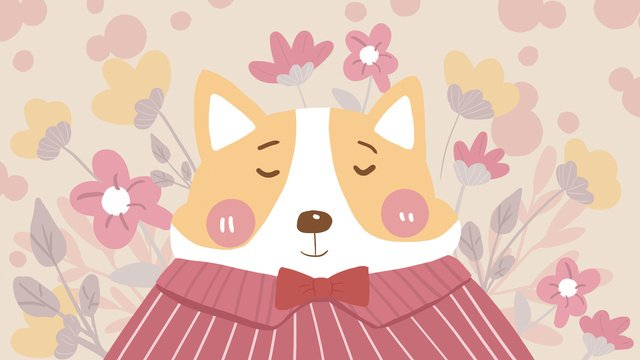 Cute pet series small yellow dog flowers cartoon animal image flat wind illustration, Meng Pet Series, Little Yellow Dog, Flowers illustration image