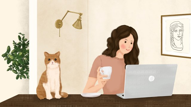 Cute pet series original illustration girl and cat in front of the notebook llustration image illustration image