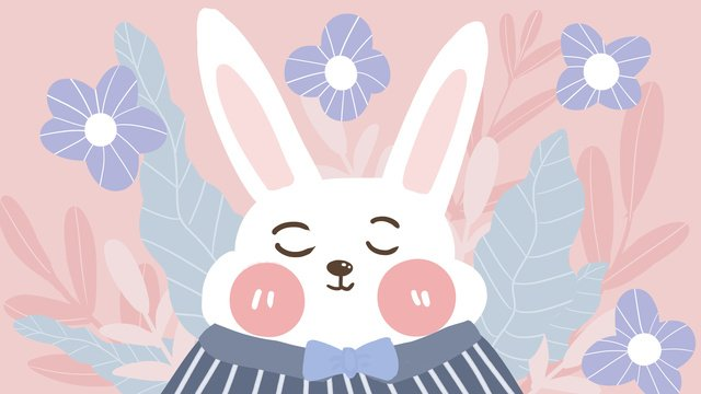 Cute pet series white rabbit flowers cartoon animal image flat wind illustration, Meng Pet Series, White Rabbit, Flowers illustration image