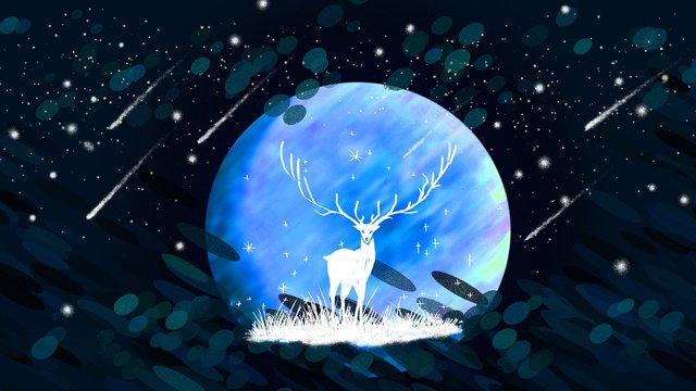 Reindeer moon night good, Meteor, Wallpaper, Illustration illustration image