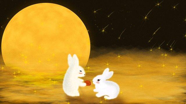 Mid-autumn festival cute moon rabbit cake cartoon illustration, Mid-autumn Festival Cute Moon Rabbit Mid-autumn Moon Cake Cartoon Illustration, Moon Cake, Rabbit illustration image