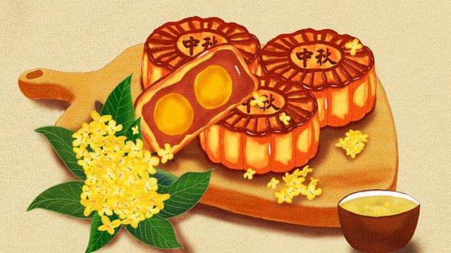 tết trung thu tinh tế và hiện thực bánh gỗ tấm vẽ tay minh họa Hình minh họa Hình minh họa