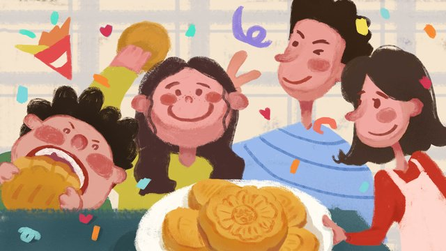mid autumn festival family members reunion eat moon cakes to celebrate warm illustration llustration image