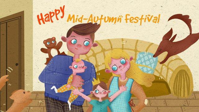 mid autumn festival family reunion warm illustration llustration image