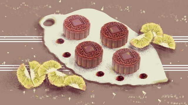Mid-autumn festival moon cake fruit fresh illustration, Mid-autumn Festival, Moon Cake, Fruit illustration image
