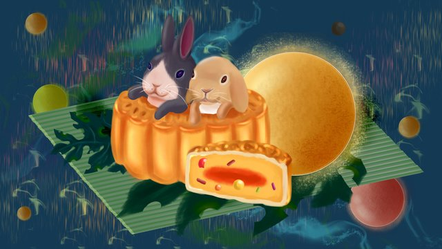 Tết trung thu mooncakes moon sprouting rabbit planet starry skyTết  Trung  Thu PNG Và PSD illustration image