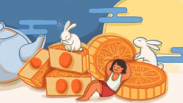 mid autumn festival moon cake small fresh traditional fashion illustration llustration image