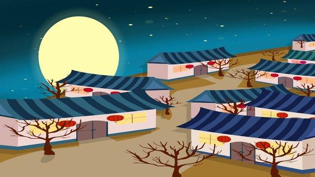 中秋節月亮與村莊 插畫素材 插畫圖片