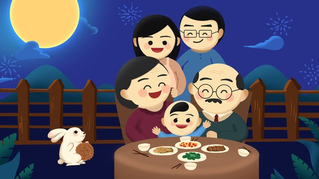 mid autumn festival reunion family happy original poster llustration image