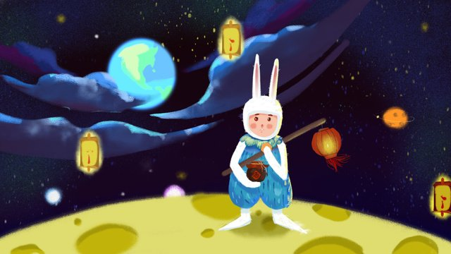 Rabbit on the moon mid autumn festival eats mooncakes drinking illustrationTết  Trung  Thu PNG Và PSD illustration image
