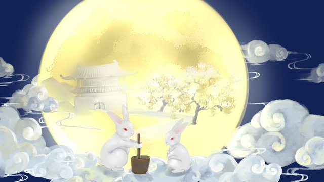 mid autumn festival bunny on the moon llustration image