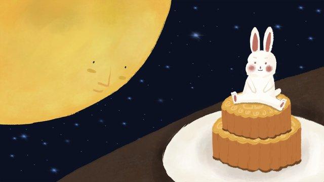 Cute cartoon mid-autumn festival rabbit eating moon cake illustration, Mid-autumn Festival, Reunion, Moon illustration image
