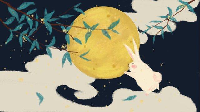 中秋節玉兔圓月 插畫素材 插畫圖片