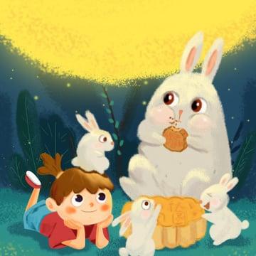 lễ hội trung thu cô bé thỏ tái hợp bánh trung thu trăng minh họa Hình minh họa