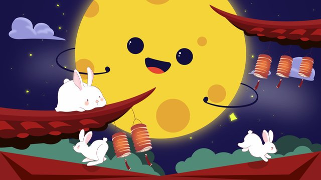 mid autumn festival cute moon sprouts mid autum llustration image
