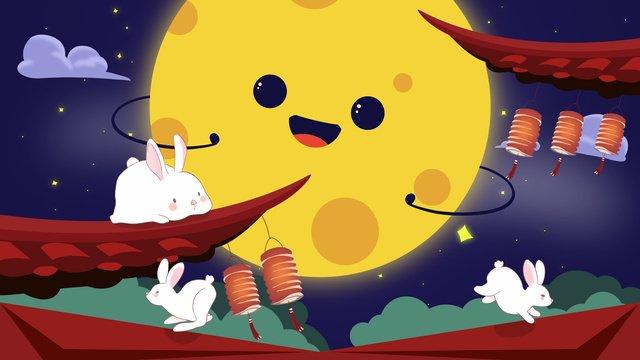 मध्य शरद ऋतु समारोह प्यारा चाँद मध्य ओटम छिड़कता है चित्रण छवि
