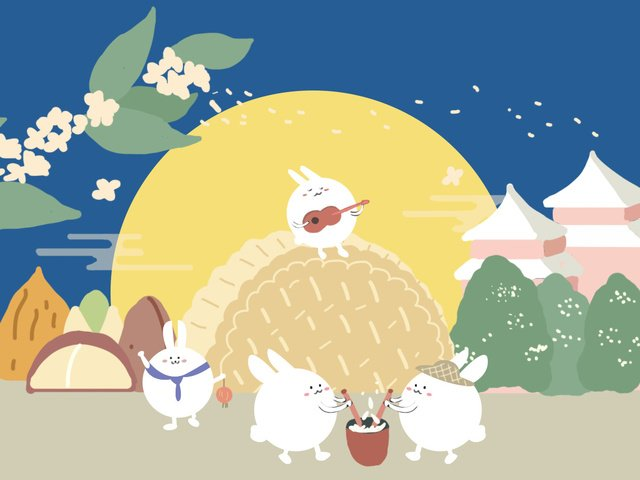 mid autumn moon rabbit mooncake party cartoon illustration llustration image