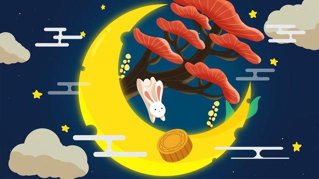 trung thu trăng thỏ ngọc dễ thương Hình minh họa