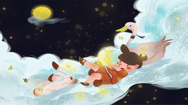 Mid-autumn night of little girl, Mid Autumn, Starry Sky, Dream illustration image