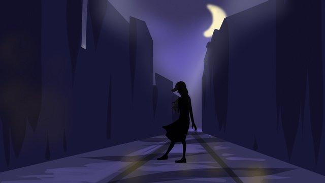 자정 오래 된 도시 외로운 소녀 원래 그림 삽화 소재