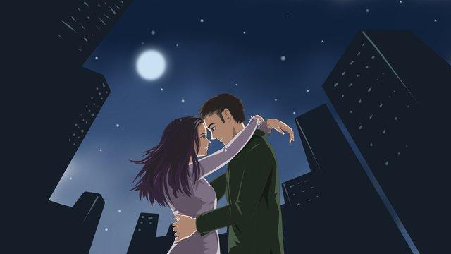 자정 도시에서 포옹하는 남자와 여자의 원래 그림 삽화 소재