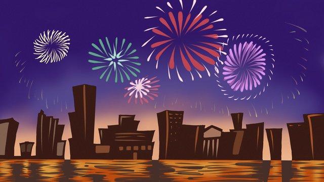 자정 도시 하늘 불꽃 놀이 원래 그림 삽화 소재 삽화 이미지