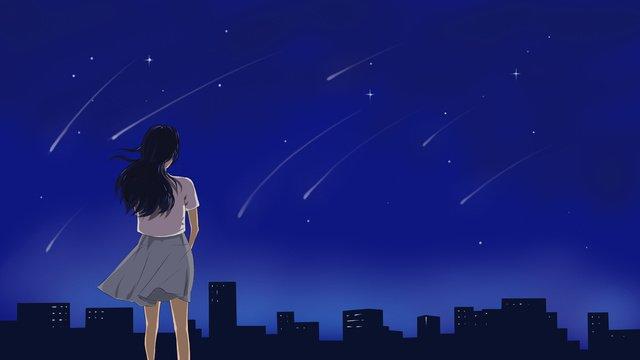 真夜中に街の屋根で星空を見ている女の子の元のイラスト イラスト素材 イラスト画像