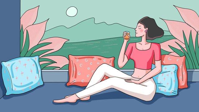 midnight city sitting at the window and spending a leisurely afternoon girl illustration llustration image