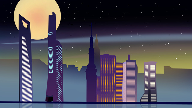 simples criativo papel microscópico vento meia noite cidade ilustração Material de ilustração Imagens de ilustração
