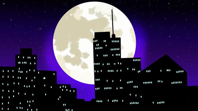자정 도시의 밤 삽화 소재