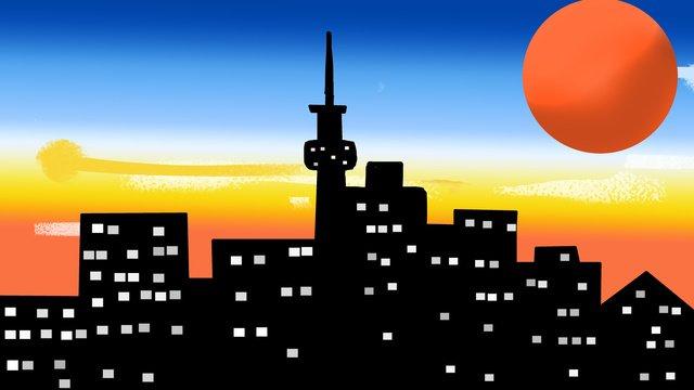 한밤중의 도시 삽화 소재 삽화 이미지