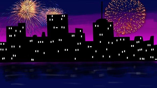 真夜中の街で花火大会 イラスト素材 イラスト画像