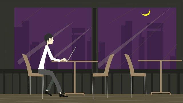 hành khách đơn độc minh họa phong cách phẳng trên nhà hàng midnight city Hình minh họa