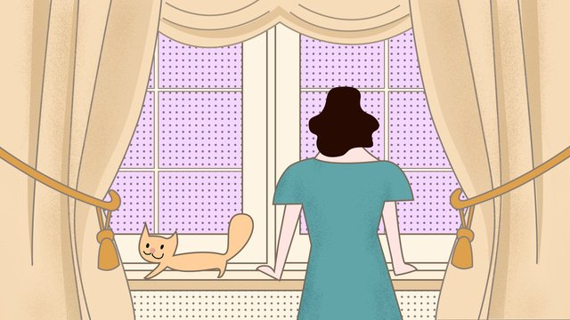 original illustration of the midnight city series looking out window llustration image