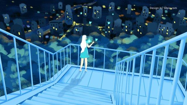 original hand drawn illustration midnight city top girl overlooking night scene llustration image illustration image