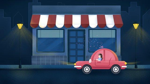 Original hand drawn illustration midnight city street car girl llustration image illustration image