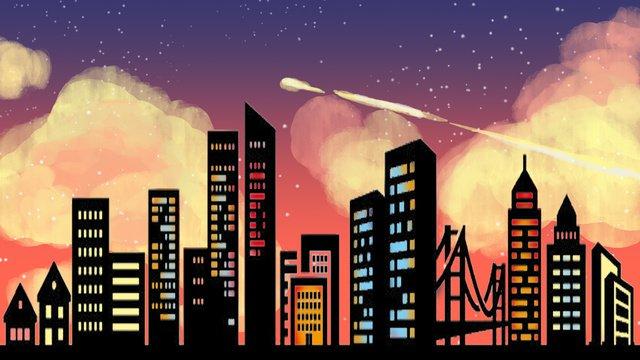 자정 도시 네온이 깜박입니다 삽화 소재 삽화 이미지