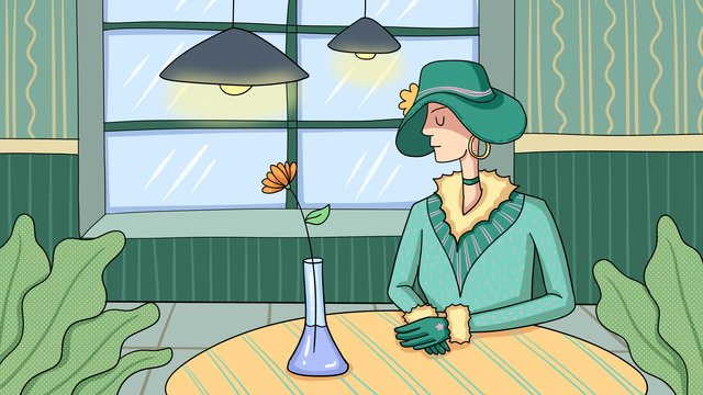woman sitting in the light of pub midnight city llustration image