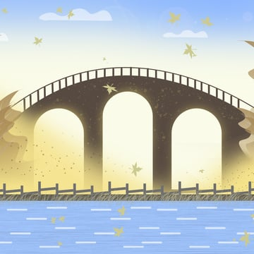 Original small fresh autumn hello river arch bridge illustration, Midnight City, Tourism, Tourism Day illustration image