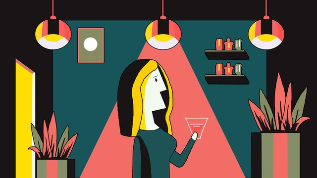 illustration of woman drinking red wine in midnight city llustration image illustration image