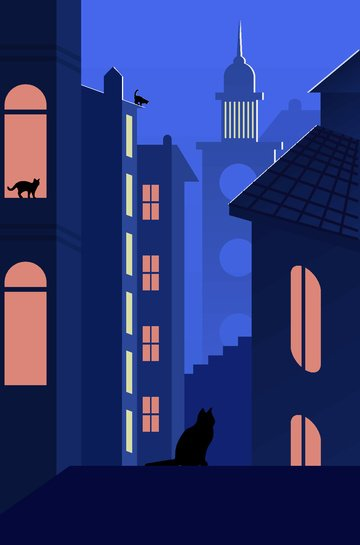 Cats wandering around the city at midnight llustration image