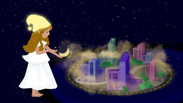 한 손으로 그린 자정 도시 마술 소녀와 삽화 소재 삽화 이미지