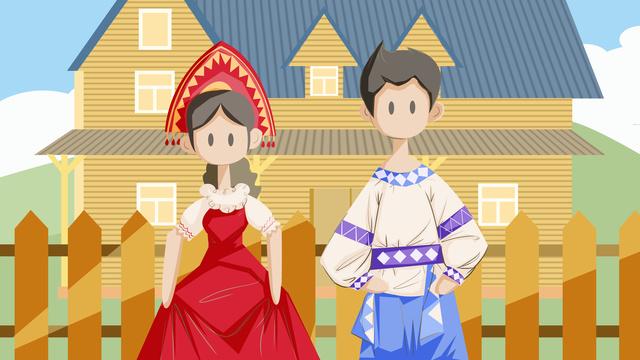 Minority russian traditional architecture woodcut 楞 tourism, Minority, Folk-custom, Russian illustration image