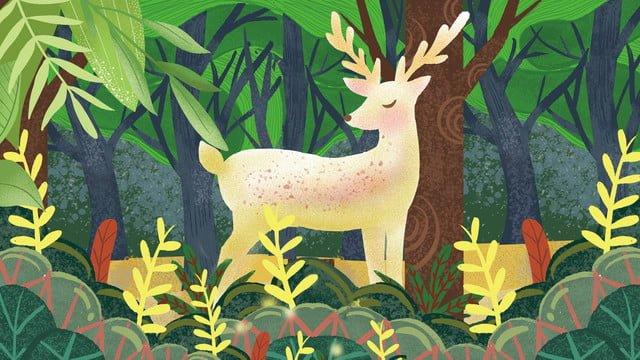 rừng và hươu xanh minh họa tươi Hình minh họa