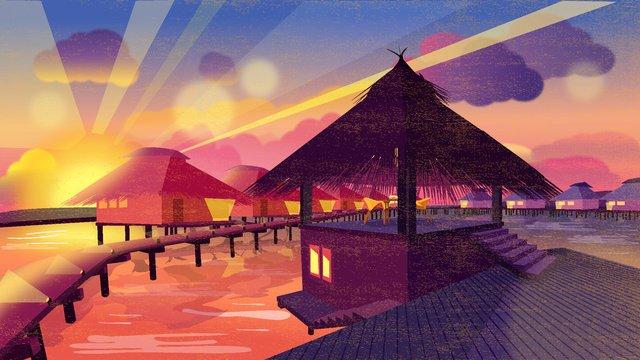 hari pelancongan dunia sanya sunset cahaya matahari terbenam ilustrasi imej keterlaluan imej ilustrasi