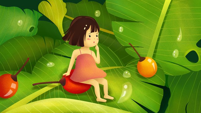 sleepwalking wonderland banana summer girl fruit plant leaf illustrator Hình minh họa