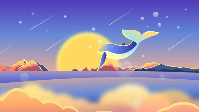 Good night cure whale mountain landscape cloud vector illustration, Mobile Phone With Picture, Illustration, Phone Wallpaper illustration image