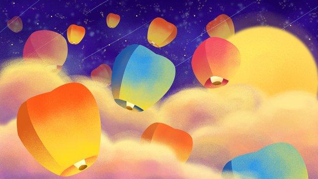 暖かい雲の空手描きのイラストを祈るzhongyuan祭りkongmingランタン祭り イラスト素材